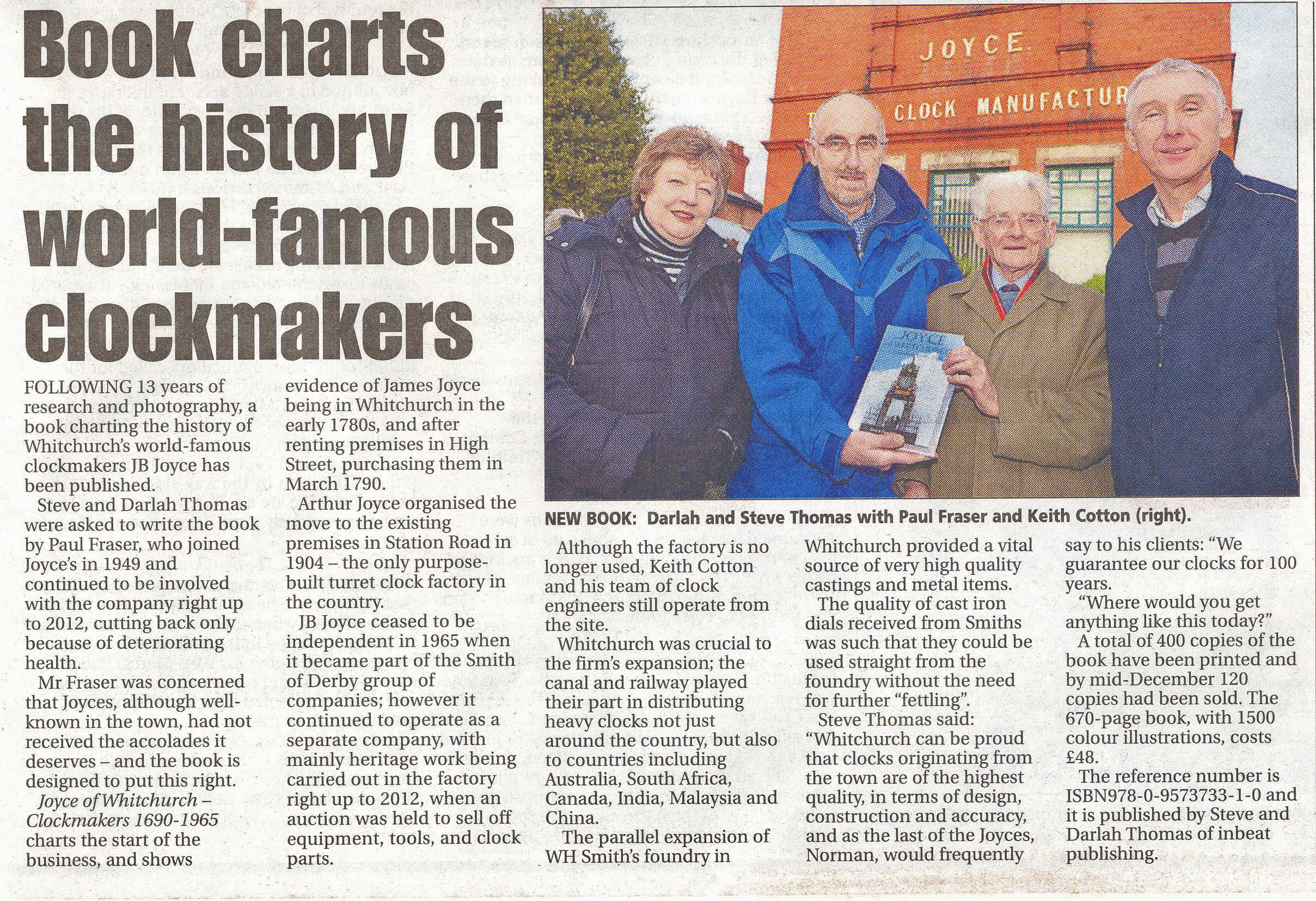 The article from the Whitchurch Herald which features the book. It was published on 25 Dec. 2013.
