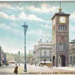 The clock tower at Blackburn Market Hall